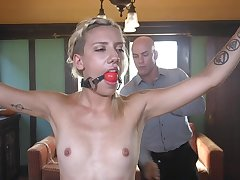 Blonde beauty Sophia Grace tied up together with misused with cock approximately mouth