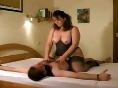 German grown up lady Iris Von Hayden riding cock and jerking off