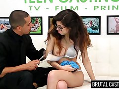 Nerdy brunette in glasses Ava Taylor does her best in hot casting XXX membrane
