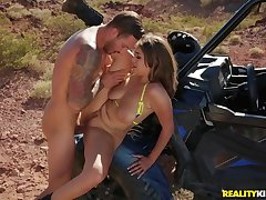 His slutty girlfriend bends over in the desert for locate
